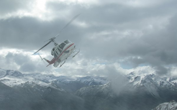 Helicopter ride in snow storm, Canadian Rockies