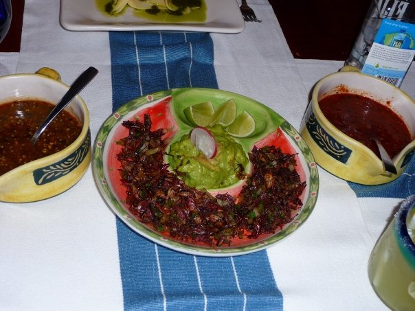 Grasshoppers with guacamole