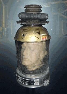 Mock photo of Ted Williams's preserved head