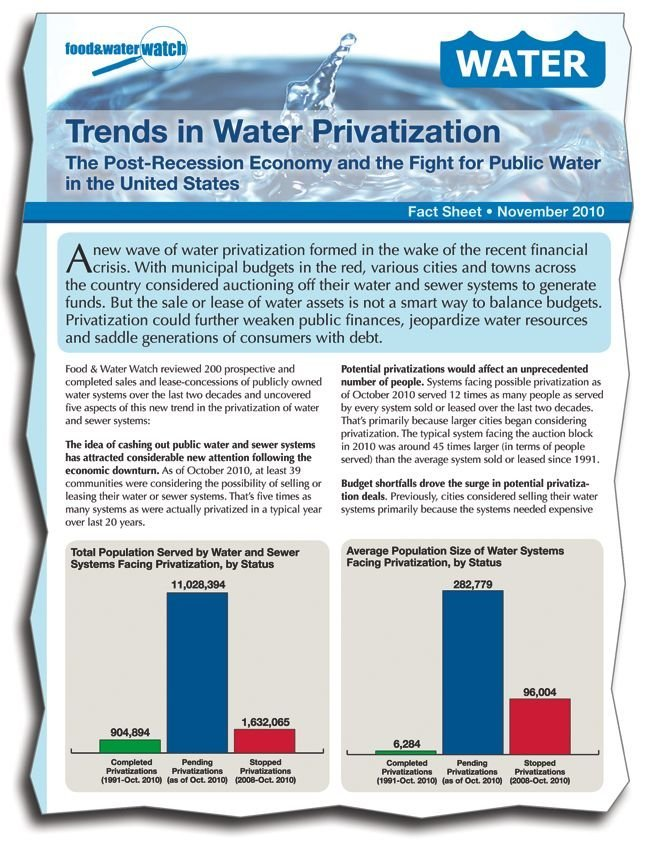 Food and Water Watch, a group linked to Ralph Nader, opposes privatization of water.