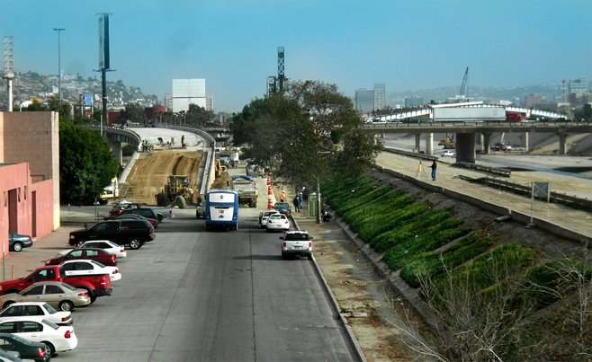 Originally scheduled to open in early January, El Chaparral bridge over the Tijuana River is still under construction.