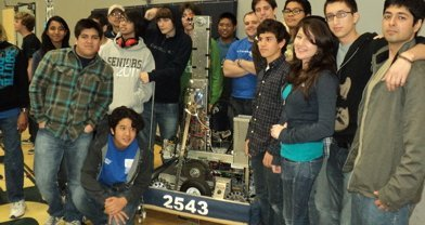 "Eastlake High's robotics team with ""La Fuente,"" their robot that looks like a fountain"