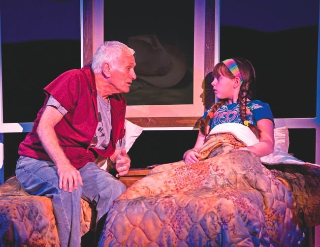 "Dick Latessa as ""Grandpa"" and Georgi James as ""Olive Hoover"" in Little Miss Sunshine, a musical that ""needs work."""