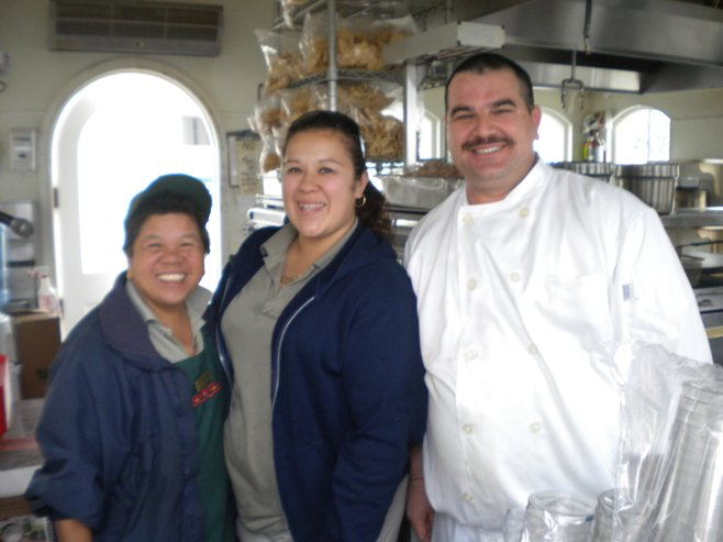 Sun Deck Grill's Vicky, Amanda, and chef Omar