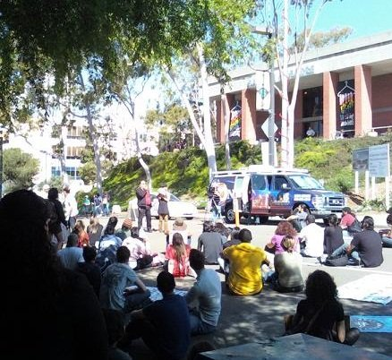 City College students gathered to protest cost cuts.