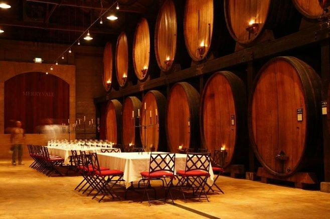 The barrel room at Merryvale Vineyards