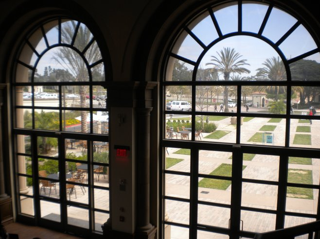 Campus view from inside Pavilion Dining hall
