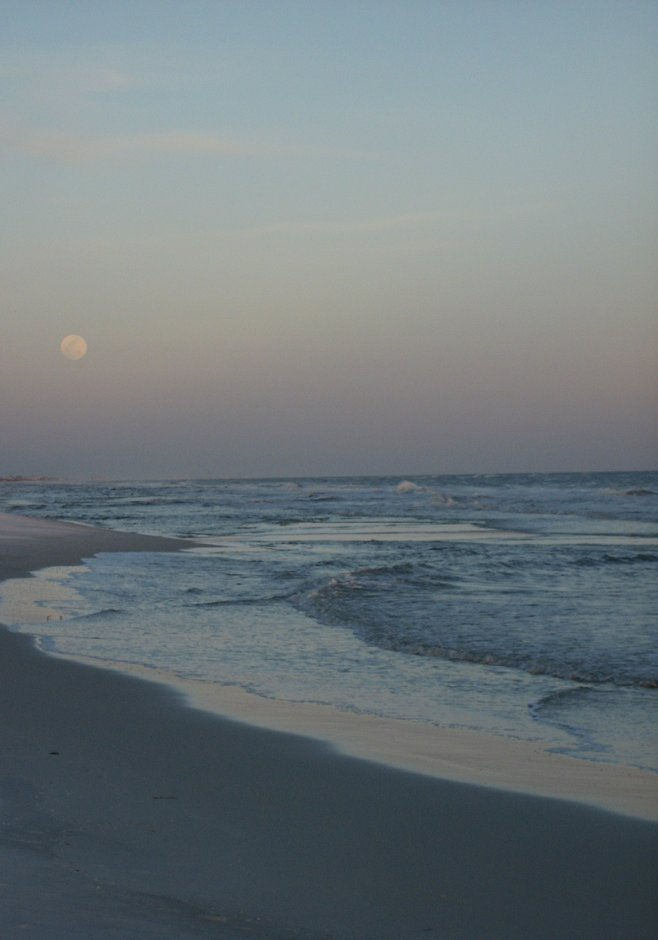 Grayton Beach, moon rising over the surf