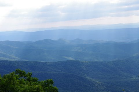 Looking out at the Blue Ridge Mountains