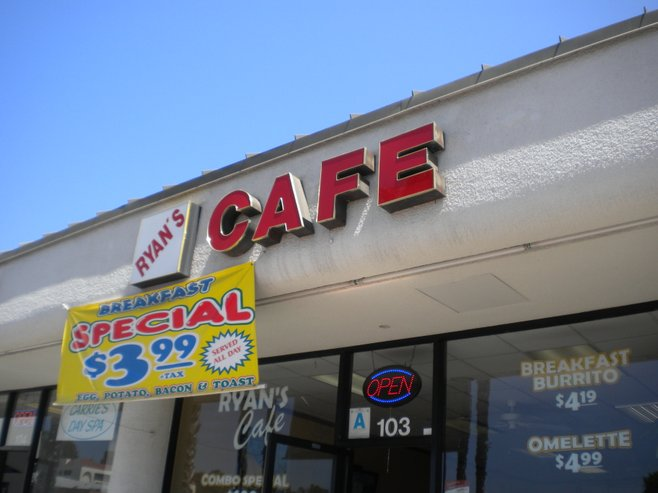 Ryan's Cafe, in the same strip mall as Ballast Point Brewing Company, and down the hill from USD.