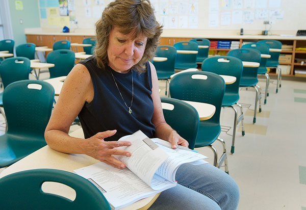 Teacher Melanie Morton holds the manual for LAS Links, one of the bewildering number of standardized tests students will take in a year.