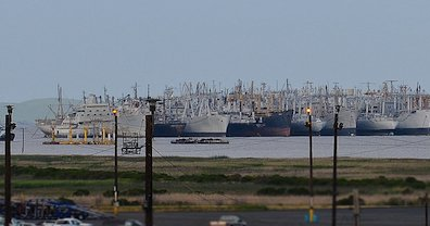 "A view of Suisun Bay's ""Ghost Fleet"" from shore"