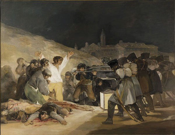 Viewing Francisco Goya's Third of May 1808, I felt physically shoved around.