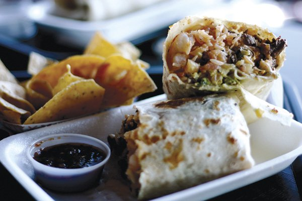 The Surfin' California Burrito from Lucha Libre Taco Shop in Mission Hills