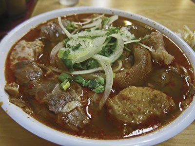 "Bun bo hue ""dac biet"" from Hoai Hue Deli. Beef shank, pork hock, and meatballs are in full view."