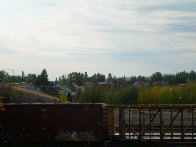 Looking out at Whitefish, Montana, from the railroad yard