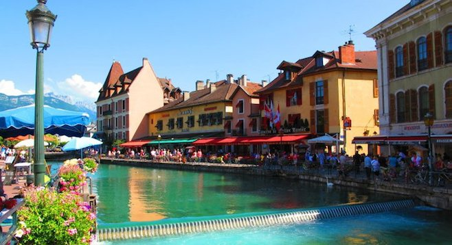 Strolling the riverfront in Annecy
