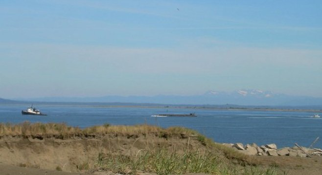 Bay near Westport, with Olympic Mountains in the background