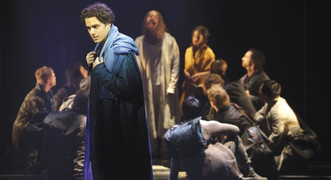 Josh Young as Judas Iscariot with members of the company in Jesus Christ Superstar, at the La Jolla Playhouse through December 31.