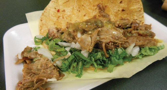 La Perla's specialty, the lamb taco