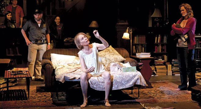 Lois Markle as Violet Weston (center) with the cast of Tracy Letts's Pulitzer Prize–winning play August: Osage County