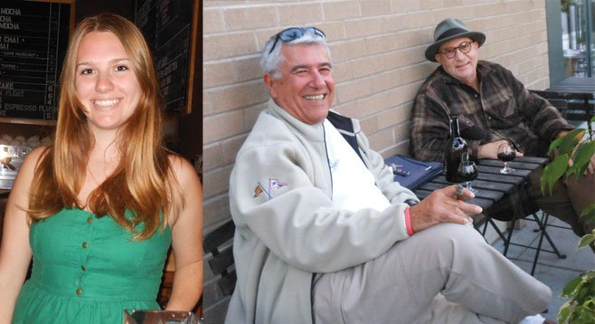Stephanie (left side). Bassam Shamma (right) shares a bottle of port with his friend Joe (left) on his sidewalk patio.