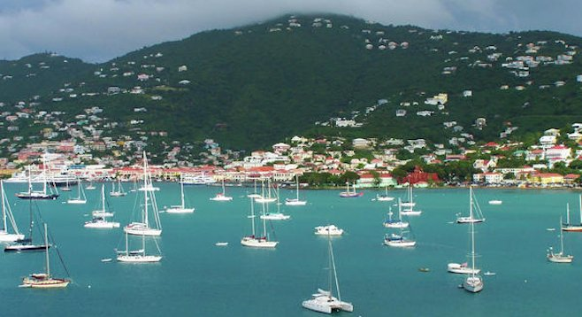Cruise ship view of St. Thomas Harbor, USVI