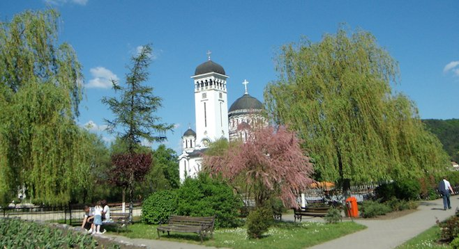 "Orthodox church in Sighişoara, Romania, after the ""Personal"" train ride"