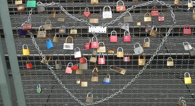 Love locks on Cologne's Hohenzollern Bridge.