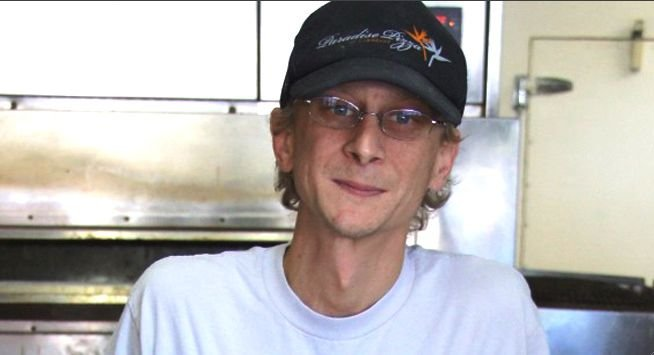 Mychal Dourson at his pizza shop in Carlsbad, where he tackled and disarmed Thomas Scott Ruth