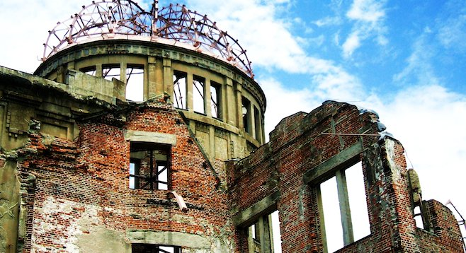 Looking up at Hiroshima's Atomic Bomb Dome