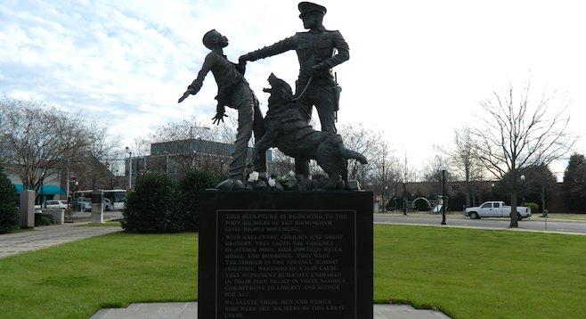 Statue commemorating civil rights protestors in Birmingham's Kelly Ingram Park.
