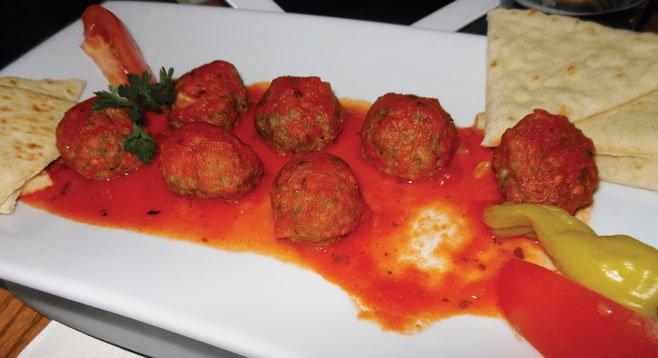 A plate of Greek meatballs
