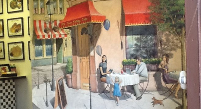 The Old Town Eatery's murals include a pretty darned convincing Parisian scene.