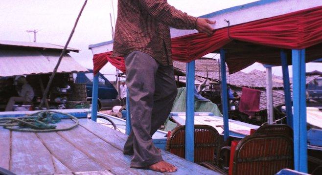 """The """"speedboat"""" to Battambang, Cambodia, up close."""