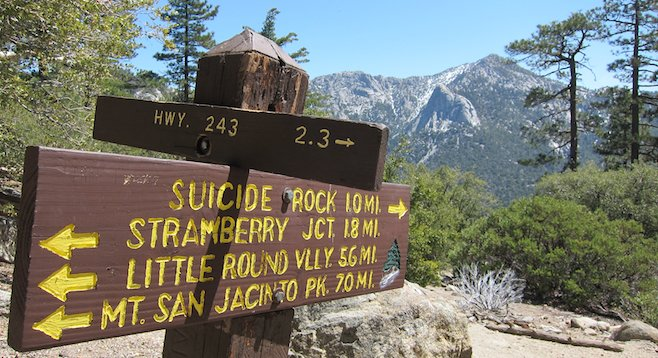 At the two-mile juncture of Deer Springs Trail, with Tahquitz Peak in the background.