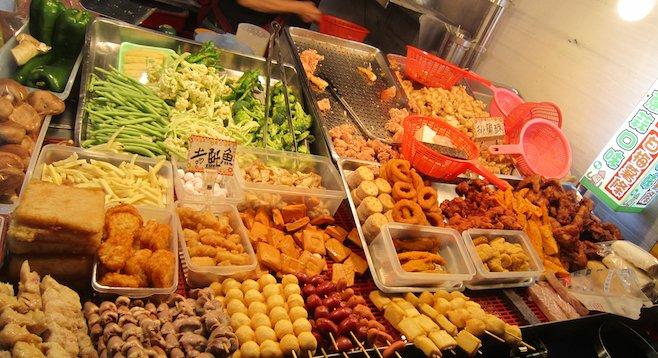 A sampling of street delicacies at a Taiwanese night market.