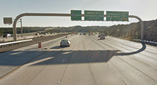 I-15 South approaching the 52