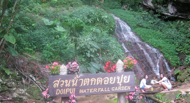 Hmong village waterfall garden near Chiang Mai.