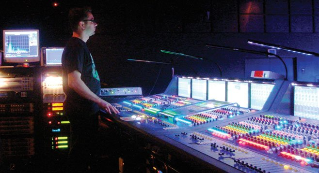 Pinback soundman Kris Poulin never gets bored at the board.