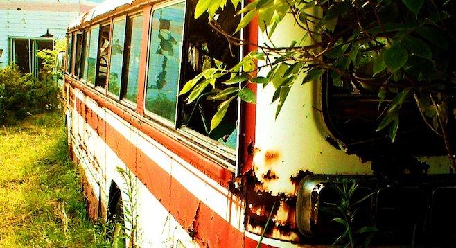 Abandoned school bus at the end of Nishiyama Crater Trail, Lake Tōya.
