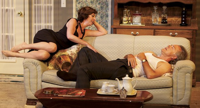 Elaine Rivkin and Mark Pinter play fantasy lovers for each other in The Lover.