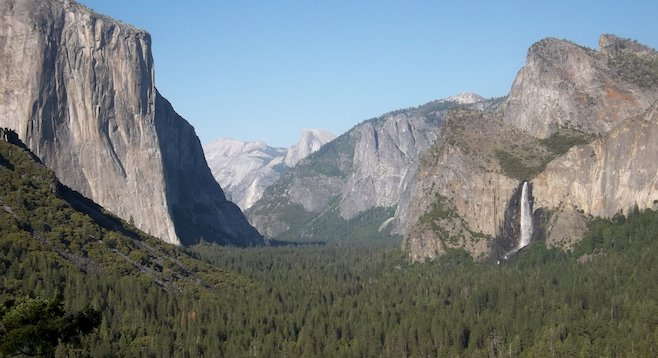 California's finest: Yosemite Valley and Bridalveil Falls from the Tunnel View overlook.