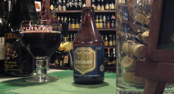 Inside Antwerp's Kulminator, drinking of Chimay Blue in progress.