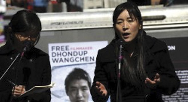 In March, Lhamo Tso spoke in Times Square about the plight of her imprisoned husband, filmmaker Dhondup Wangchen.
