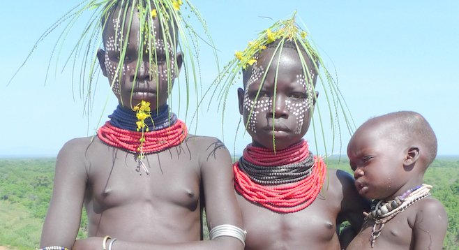 Face to face with the Stone Age: children from the Karo tribe at the Omo River.