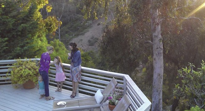 The house had a spacious deck that looked out over a canyon in Mission Hills.