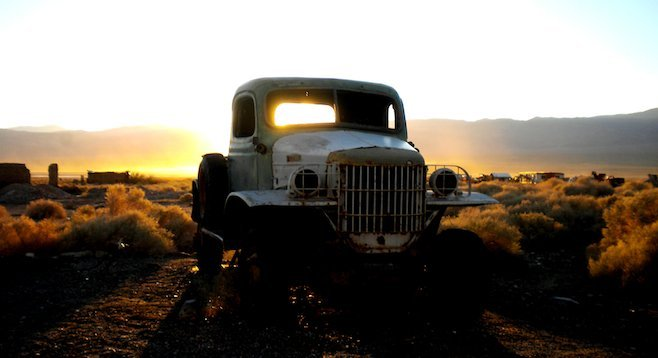 Seeing is believing...? The truck rumored to have belonged to Charles Manson in Ballarat, CA.
