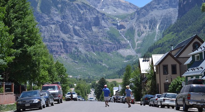 Downtown Telluride in the summer, home to one of the most scenic music festivals in America.
