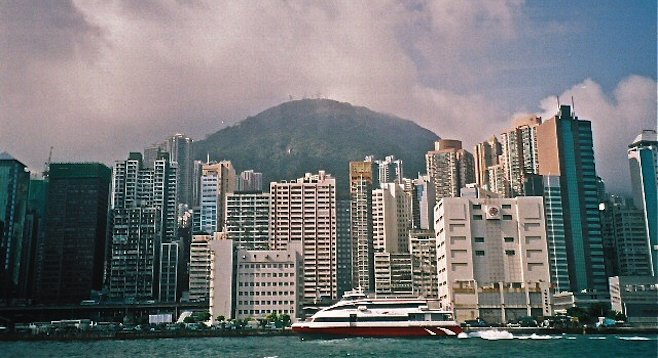"An ""unearned"" view of the downtown skyline and Victoria Peak from the ferry."